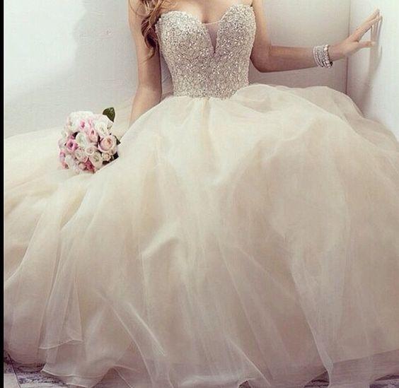 Beautiful big puffy dress dress pinterest beautiful for Puffy wedding dresses with diamonds