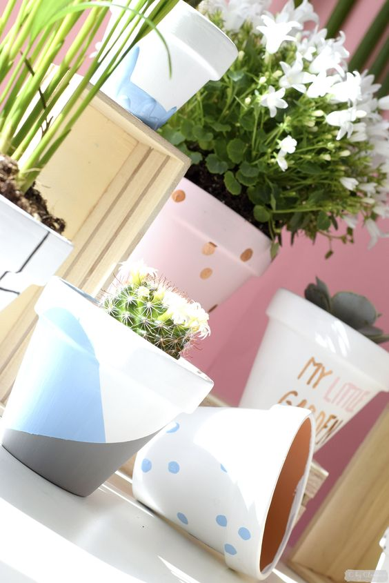 diy d co en vid o pots de fleurs graphiques et petit jardin d 39 int rieur diy graphic flower. Black Bedroom Furniture Sets. Home Design Ideas