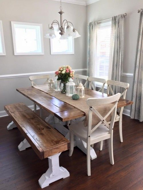Farmhouse table bench diy dining table dining tables for Kitchen table designs plans