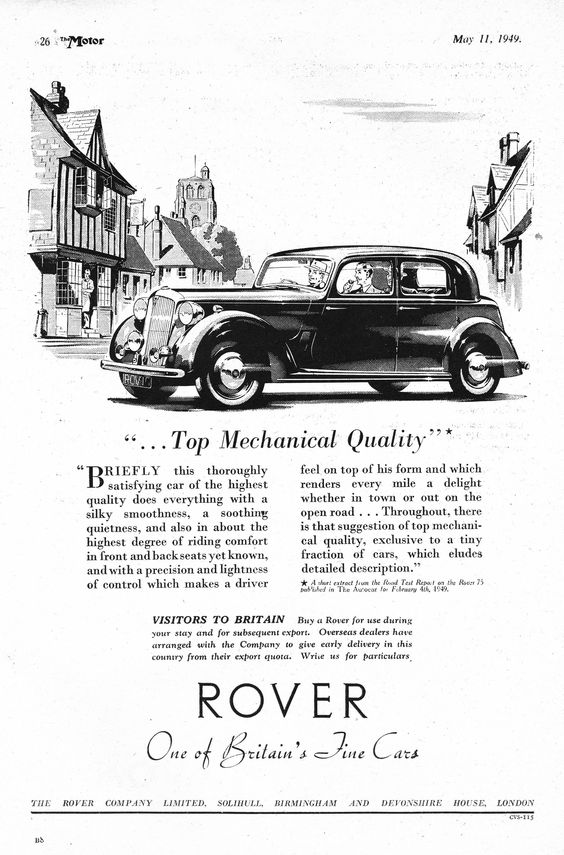 Rover Motor Car Autocar Advert 1949