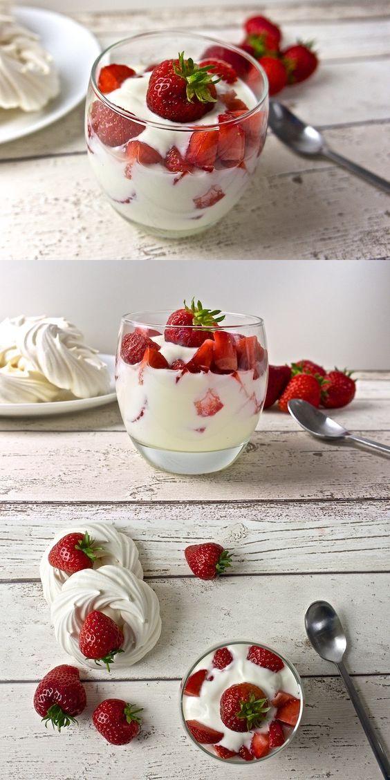 Light Eton Mess, made of natural yoghurt, fresh strawberries and meringues. Delicious summer treat. #strawberry #meringue #dessert