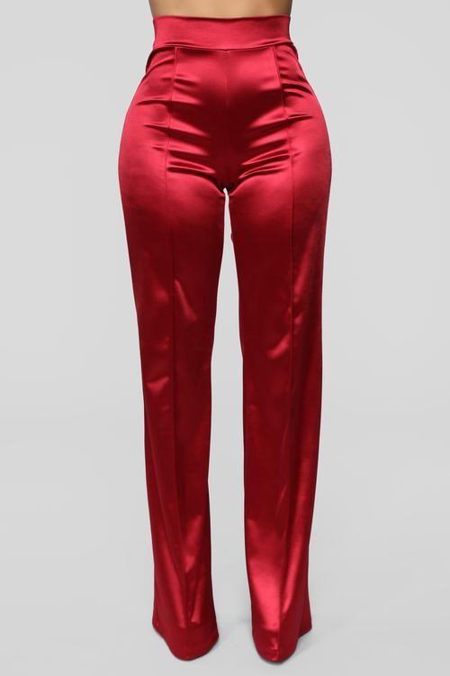 Make A Wish Stretch Satin Pants - Ruby | Stretch dress pants