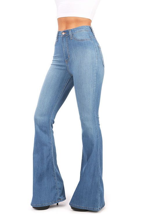 259def56af0 Womens Vintage High Waist Flared Bell Bottom Jeans Vibrant Light Denim USA   Vibrant  Flare