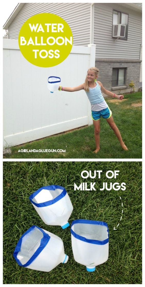 water balloon toss out of milk jugs--fun summer hack: