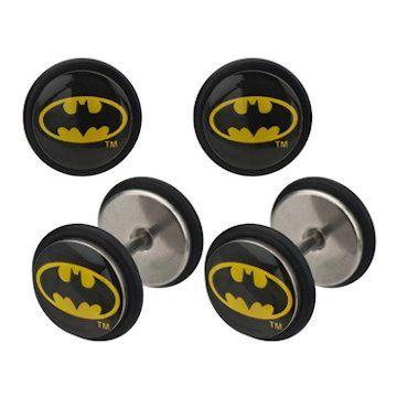 DC Comics Batman Oval Logo Acrylic Faux Plug Earrings