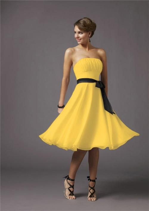 Hufflepuff Bridesmaid dress idea Yellow Bridesmaid Gown   Black ...
