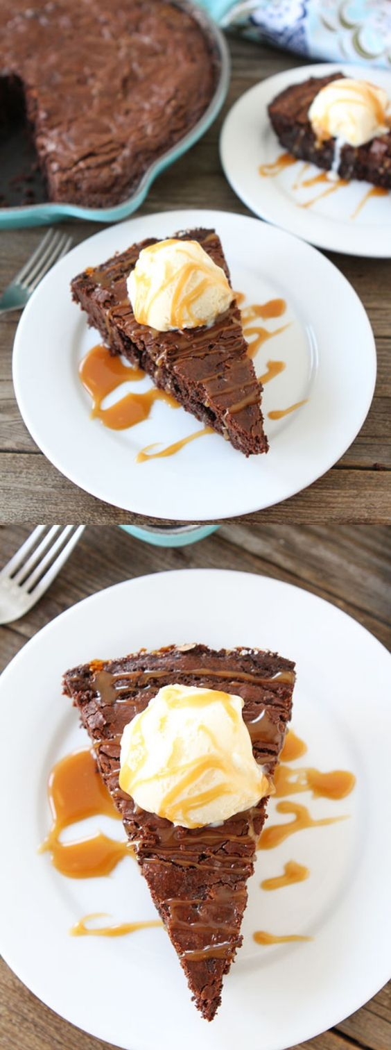 Salted Caramel Skillet Brownie Recipe on twopeasandtheirpod.com These brownies are to die for!