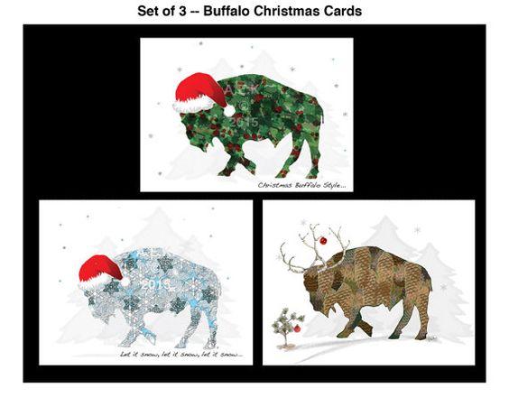 Buffalo Christmas Cards   Note Card Set   by SilentMyloStudio