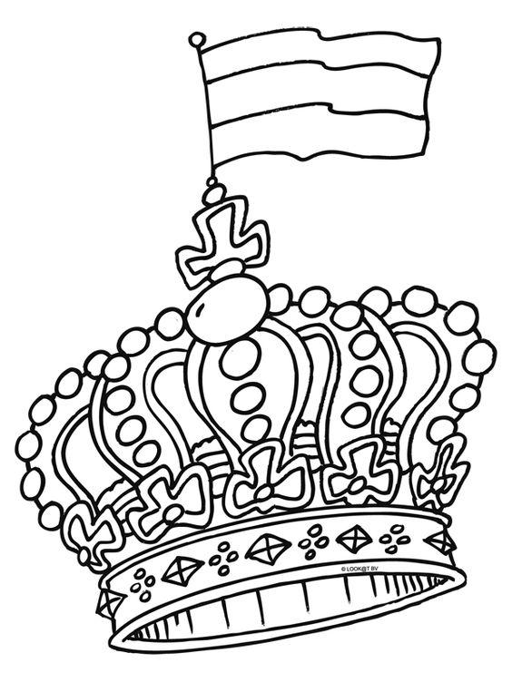 kleurplaat kroon zoeken school thema