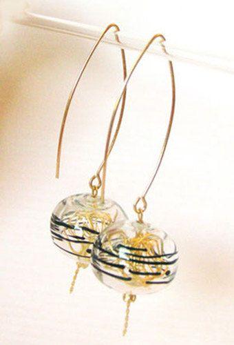 Lampwork glass earrings. elegant transparent hollow by anatglass
