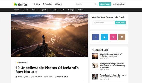 Katla Tema WordPres com Conteúdo Gerado pelo Usuário