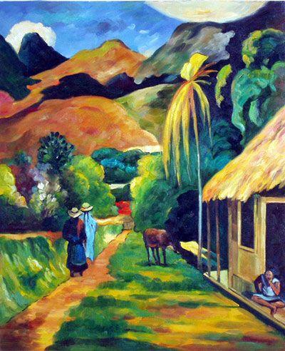 Paul Gauguin, 1848-1903.Post Impressionist.  Tahiti | Paul Gauguin - Street Scenery, oil paintings on canvas.