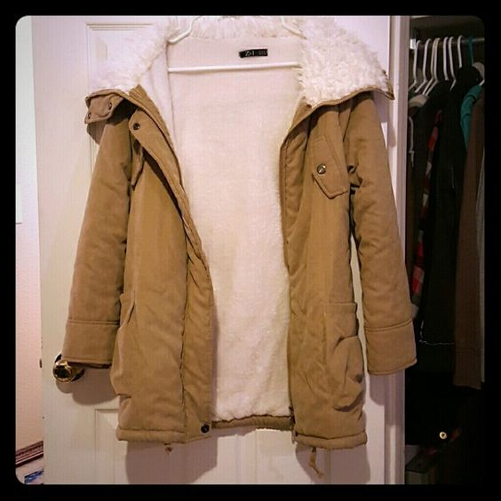 Suede and Furry Z&I Winter Coat Feel free to make an offer! This needs to GO!  New without tags. Soft suede camel outer and fury collar and inside body. Sleeve lining is silky. Very comfy, I just ended up going with a different color. It has lots of pockets, too. No hood. Z&I Jackets & Coats Puffers