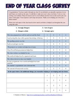 End of year teacher evaluation survey for students for End of course evaluation template