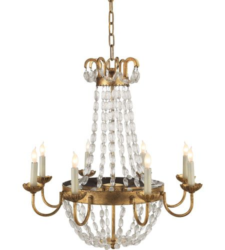 Visual Comfort E.F. Chapman Paris Flea Market 8 Light Chandelier in Gilded Iron with Wax CHC1426GI-SG #visualcomfort #lightingnewyork #lighting