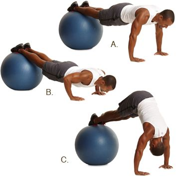 Pompes au ballon suisse, avec levée des hanches #fitness http://www.plaisirssante.ca/ma-sante/sante-des-hommes/4-exercices-essentiels-pour-les-hommes?slide=5#