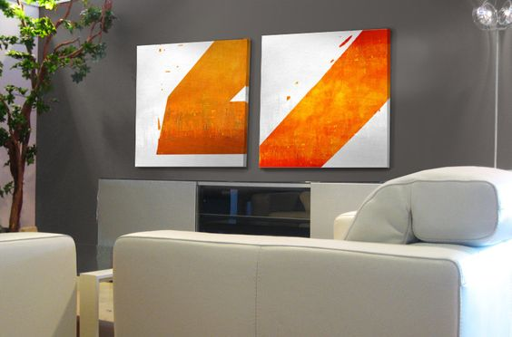 """Original Abstract painting in Sunny Orange (left) - Acrylic painting - 35,4"""" x 35,4"""" - Free shipping"""