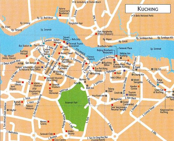 This Is The Map And Places Of Interest In Kuching City Sarawak - Kuching map