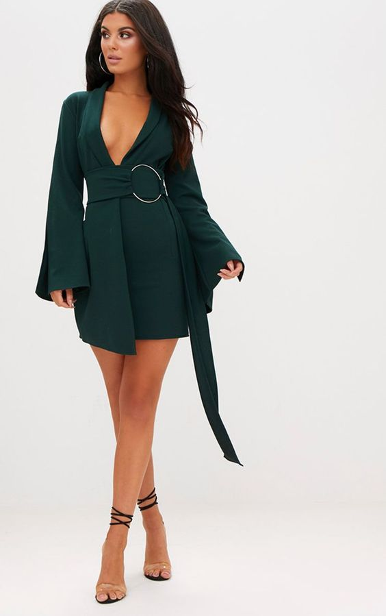 Emerald Green Oversized Ring Detail Blazer DressHave all eyes on you girl with this stunning emer...