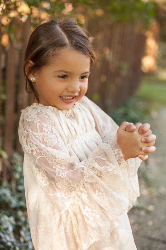 Girls Lace Maxi Lace Flower Girl Dress Ivory Vintage Champagne ...