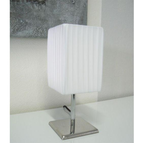 Facile Tischleuchte K096ER Medwed eckig Plissee Tischlampe weiss weiß