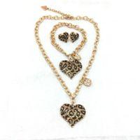 Set jóias presente de natal moda feminina leopard coração pulseira brincos e colar