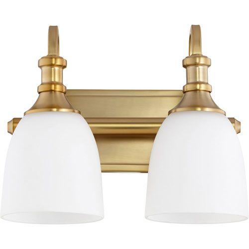 Mill Mason Milton Aged Brass Two Light Bath Vanity Vanity