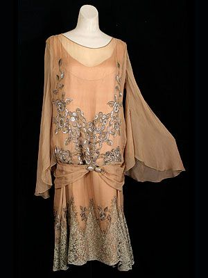 """Beaded/embroidered silk chiffon dress with matching coat, c.1926. Label: Beneway/Hartford, Connecticut."""""""