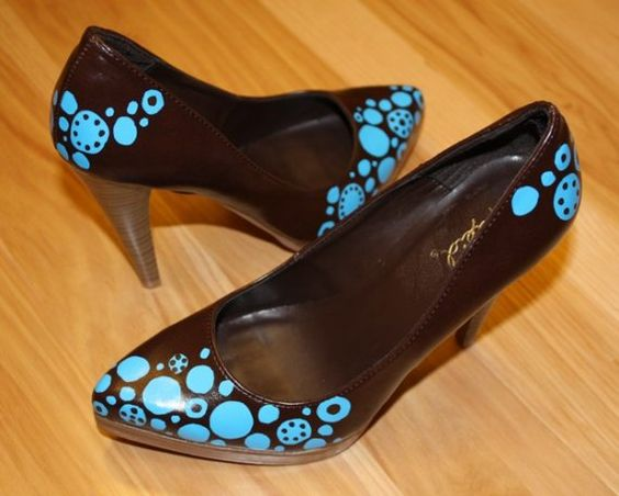 Lovely brown and baby blue vegan heels.