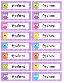 Owl Themed Editable Labels - at first I thought it said edible then I realized it said editable which of course is much more useful in the classroom :)