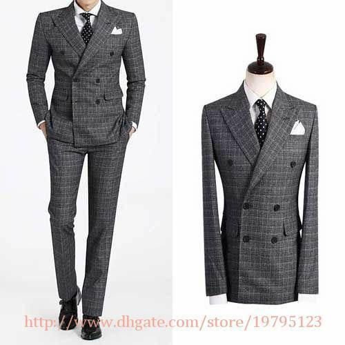 double breasted suit Groom Tuxedos Best Man Peak Lapel Groomsmen