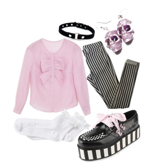Pastel Goth by emochick42 on Polyvore featuring Topshop and River Island