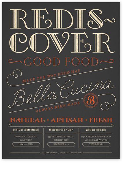 #houseoftype | Bella Cucina Poster in Atlanta. Designed by Alvin Diec.