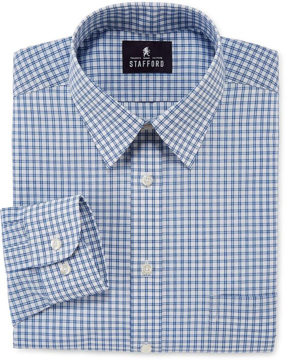 Stafford Stafford Long Sleeve Travel Performance Broadcloth Dress Shirt Big Amp Tall Mens Big
