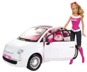 Barbie Doll and Fiat Vehicle by Mattel. $56.49. Fiat car features shiny metallic wheels, signature zebra-print Barbie seats, Barbie logo license plate and holofoil lights. Have Barbie hit the road in style her open-top Fiat. The ultimate in Italian design. Barbie Fiat vehicle and doll set is great for any gift. Get ready for life in the pink lane. From the Manufacturer                Get ready for life in the pink lane with Barbie and her super-stylish, open-top Fiat. Includ...