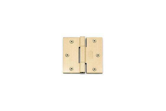 Emtek 96513 3-1/2 Inch x 3-1/2 Inch Plain Bearing Square Corner Mortise Hinge - Satin Brass Door Hinge Plain Bearing 3 1/2 x 3 1/2