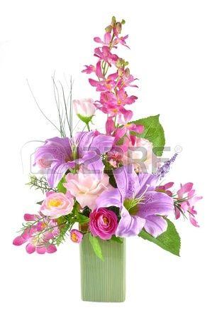 Arreglo colorido de flores artificiales en el fondo blanco - Plantas artificiales para decorar ...