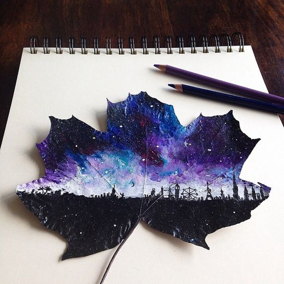 Artist uses fallen leaves as canvases to create beautiful landscapes artworks