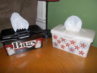 Use old baby wipe containers to store plastic grocery bags. LOVE this idea!!!