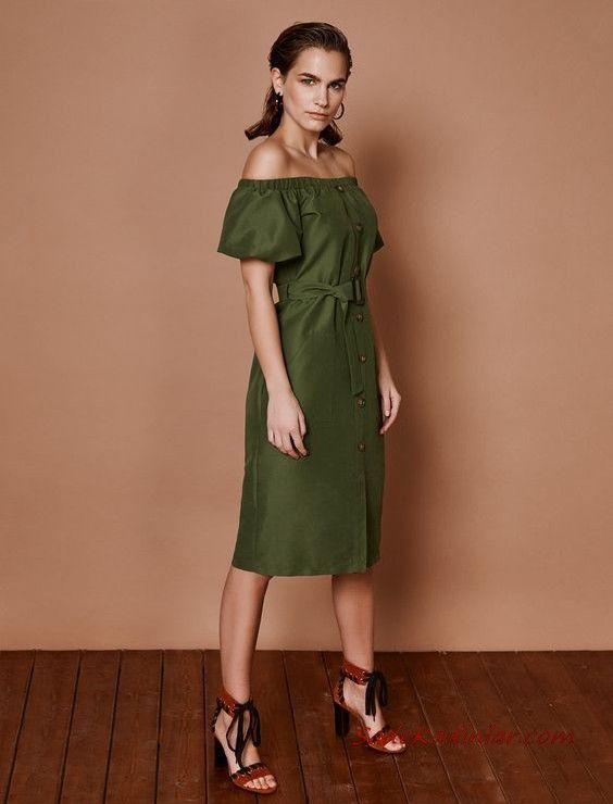 2019 Yazlik Elbise Modelleri Koton Haki Midi Omzu Acik Dusuk Kisa Kol Dugmeli Elbise Modelleri Elbise Midi Elbise