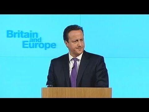 イギリスのキャメロン首相は演説で、EU(ヨーロッパ連合)から脱退するかとどまるかを問う国民投票を実施することを約束しました。