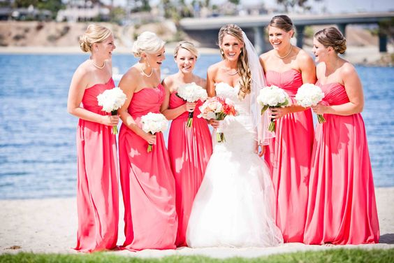 Perfect bridesmaids dresses for a San Diego beach wedding, this one at Paradise Point.