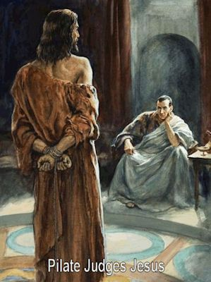 "Matthew 27:1-2. ""When the morning was come, all the chief priests and elders of the people took counsel against Jesus to put Him to death: And when they had bound Him, they led Him away, and delive..."
