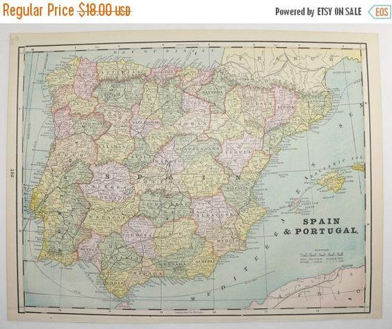 Vintage Map of Spain, Portugal Map 1894 Antique Spain Map, Vintage Spanish Decor Gift for Home Decor, Antique Map, Gift for Spanish Teacher available from  OldMapsandPrints.Etsy.com #Spain #Portugal #AntiqueMapofSpainandPortugal