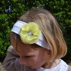 Bandeau bébé enfant fille fleur jaune bandeau coton large blanc strass