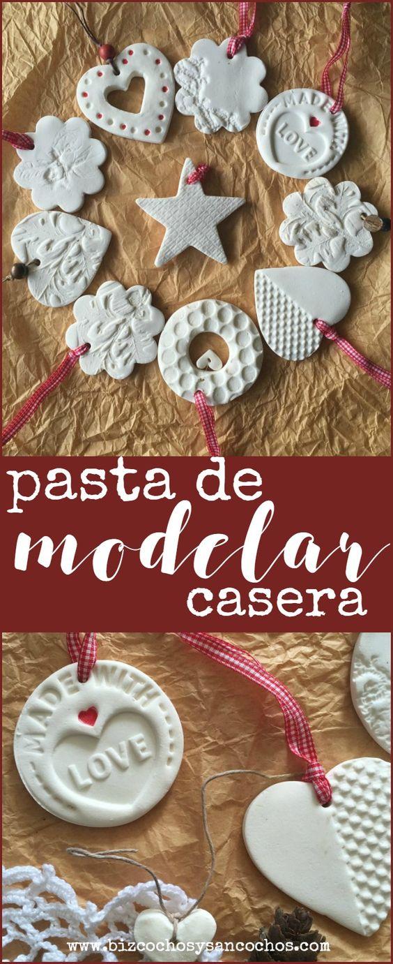 Pasta de modelar casera para hacer ornamentos navideños en casa, se seca al aire; pueden pintarse o dejarse al natural: