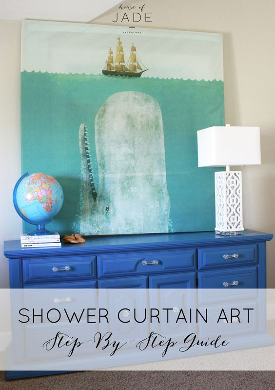 DIY Shower Curtain - really awesome huge art piece, with really good tutorial. For behind the dinner table?