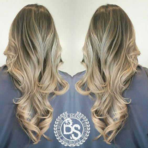 beige blonde balayage ombre with an ash brown base by Linh Phan of Be Scene Hair