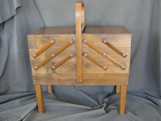 Vintage Danish Modern Strommen Bruk Hamar Cantilever Sewing Cabinet