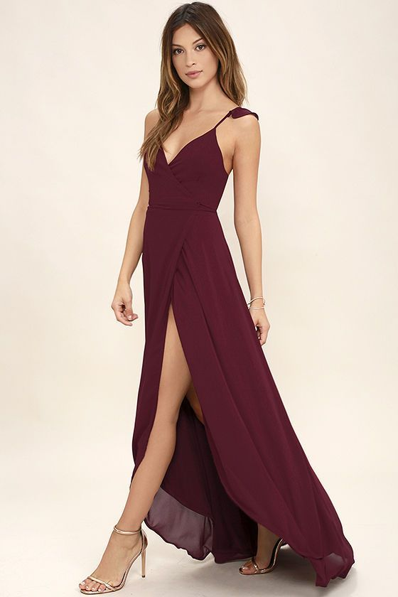 Here's to Us Burgundy High-Low Wrap Dress